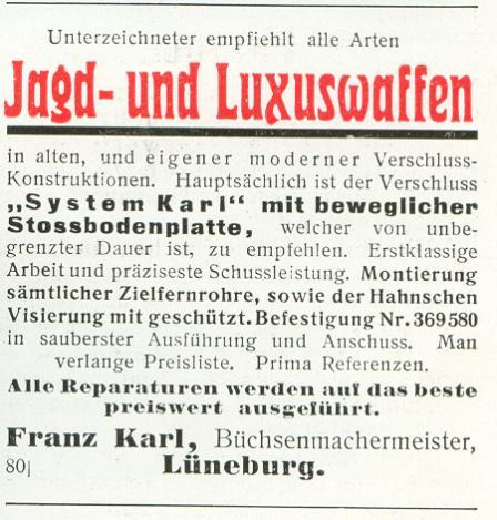 Franz Karl, Büchsenmachermeister, Lüneburg
