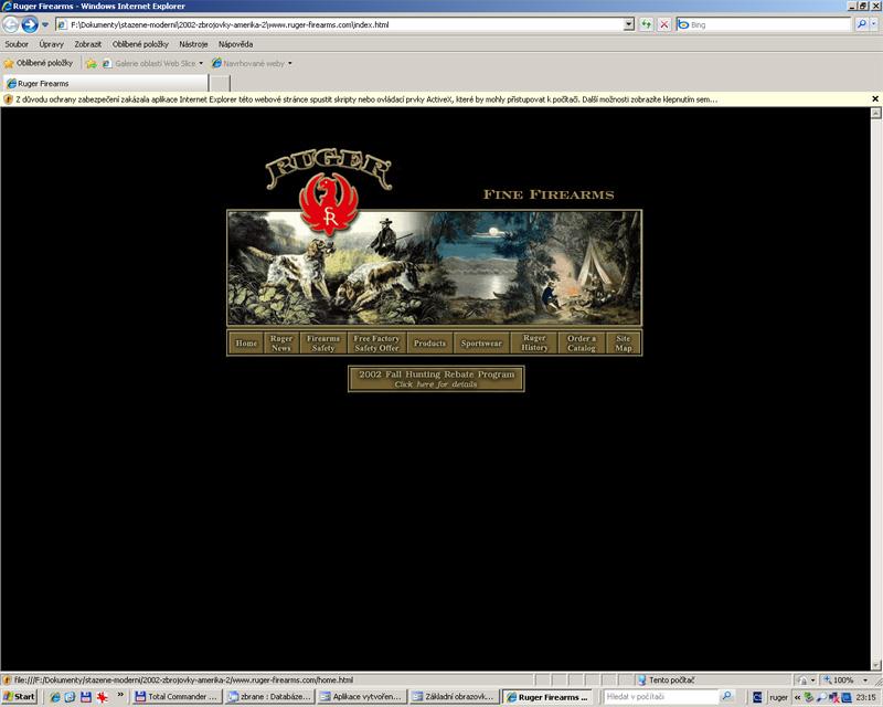 Ruger-titulní strana webu 2002